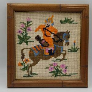 Arabian Knight & Horse Finished Framed Needlepoint